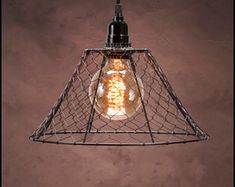 Rustic Primitive Chicken Wire Dome Single Bulb Pendant Light | Etsy Mason Jar Pendant Light, Plug In Pendant Light, Pendant Lamp, Ceiling Hooks, Ceiling Lights, Swag Light, Lamp Cord, Chicken Wire, Unique Lighting