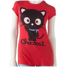 Chococat Shirt Bright red adorable chococat waving t shirt. Bell cap sleeves with plain back. Hello Kitty Tops