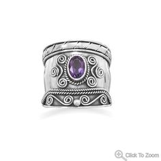 Handcrafted Sterling Silver Bali Ring with Amethyst