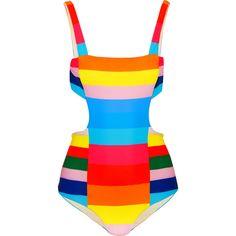 Mara Hoffman Vela striped cutout swimsuit (£185) ❤ liked on Polyvore featuring swimwear, one-piece swimsuits, light blue, cut out one piece swimsuit, striped swimsuit, mara hoffman swimwear and swimming costumes