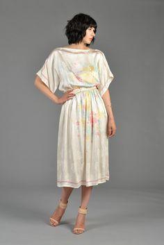 80s Ivory Silk Floral Kimono Top Dress | BUSTOWN MODERN