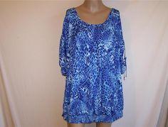 JENNIFER LOPEZ Shirt Blouse Plus Sz 2X Blue Animal Print Cut Out Drawstring #JenniferLopez #Blouse #Casual