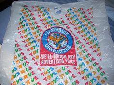 1990s Toys R Us plastic bag