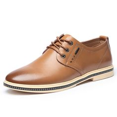 e1b866dfdd76 Men British Style Retro Casual Oxfords Flat Lace Up Leather Formal Shoes  Casual Oxford Shoes