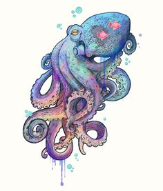 octopus Art Print by Laura Graves | Society6 || And Cephalopods in general...