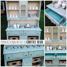 Outdated China Hutch to Functional Coffee Station!