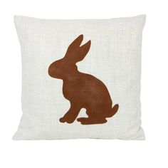 The perfect complement to your country home, this neutral cotton cushion cover features a rabbit silhouette in contrasting brown tones. Team with bare woods.