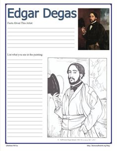 started my 10 week long Intimate Impressionists series with Edgar Degas. Comes with a printable Degas Notebook Page. Edgar Degas, Art History Lessons, Art Lessons, Middle School Art, Art School, Classe D'art, Art Handouts, Artist Project, Art Worksheets