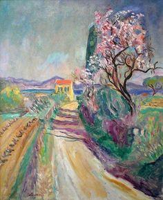 Charles Camoin 1879/ 1965 La route du pinet  a l´amandier fleuri