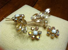 Vintage Floating Flower Brooch Clear & AB by SweetBettysBling, $30.00