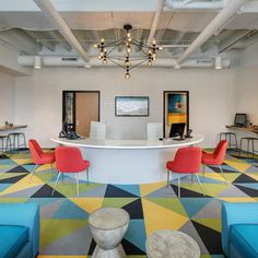 """FLOR / Made You Look / Multiple Colors / The Marq / Milwaukee, WI. / Our Made You Look carpet adds some real """"POW"""" against the white walls. Carpet Design, Floor Design, Tile Design, Carpet Flooring, Rugs On Carpet, Carpets, Masculine Master Bedroom, Modern Floor Tiles, Office Carpet"""