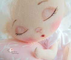 Sleeping doll Textile doll with bed linen. The doll moving all parts of the body, and thus it can be in any position (as can be seen in the photo). Materials from which the doll is made natural (cotton, wool). Dolly looks great in the bedroom. With it, you can play. But it is not