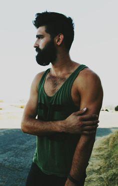man tank top beard summer ourdoor
