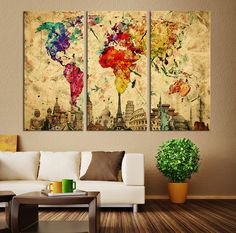 Watercolor World Map Canvas Print Large World by ExtraLargeWallArt