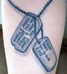 dogtags #tattoo http://tattoosandguyliner.com/tattoo-tuesday-dog-tags-traci-fixler/