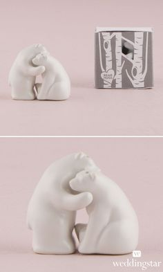 Interlocking Bear Hug Miniature Salt and Pepper Shakers. http://www.weddingstar.com/product/interlocking-bear-hug-miniature-salt-and-pepper-shakers-with-gift-packaging {wedding favor, wedding favour, gift, love, Valentines, present, wedding guest, white and pink, woodland, bears}