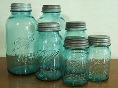 wonderful old Ball Jars. Old mason jars for canning. & canning with Grandma and great-aunts? Antique Bottles, Vintage Bottles, Bottles And Jars, Glass Bottles, Antique Glass, Ball Canning Jars, Ball Jars, Vintage Mason Jars, Blue Mason Jars