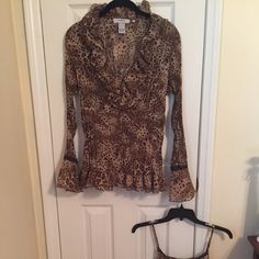 THEME Pre season sale Leopard top and tank Button down and Ruffed in front with bell sleeves. Comes with matching tank top Theme Tops Tank Tops
