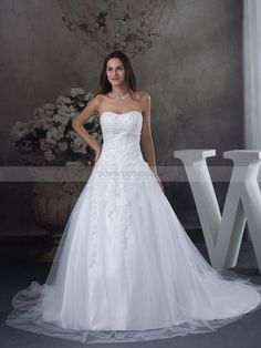 Strapless Tulle and Satin Wedding Dress with Appliqued Bodice