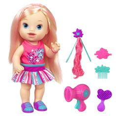 Baby Needs to Look Her Best Your little one can play stylist and parent with the Baby Alive Play'n Style Christina doll. This doll's long hair is . Muñeca Baby Alive, Baby Alive Dolls, Baby Dolls, Toys For Girls, Kids Toys, Blonde Babys, Baby Doll Nursery, Room Baby, Monster High Birthday