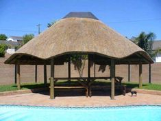 Traditional Thatch Roofs From concept to creation. Gazebo On Deck, Backyard Gazebo, Backyard Seating, Thatched House, Thatched Roof, Village House Design, Village Houses, African Interior Design, Built In Braai