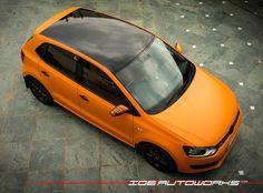 VW Polo matte orange full wrap At IDE|Autoworks