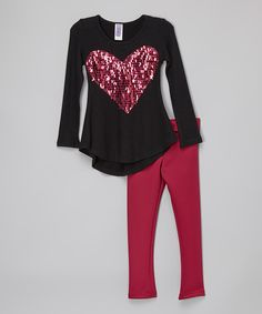 Another great find on #zulily! Black Heart Tunic & Pink Leggings - Toddler & Girls by Maya Fashion #zulilyfinds