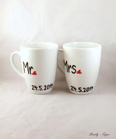 Hochzeitsgeschenk Tassen Set  Wunschdatum Mr, Mrs