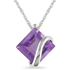 64bbe014a875 Miadora 10k White Gold Square-cut Amethyst Crossover Solitaire Necklace  (10k Gold 2ct TGW