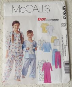 Mccalls MP302 Sewing Pattern Pajama Tops, Bottoms or Shorts and Nightshirt for Boys & Girls Size Child Size 3-8 OOP