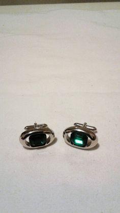 Silver tone /& Rhinestone CuffLink Tie Clip Set Signed Flex-Let Aurora Borealis Geometric Mid Century Modern Style Vintage 1950s Mens Jewelry