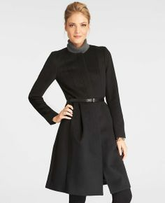 Gates Coat   Ann Taylor - Clean lines and pleated in Black and Maroon - Regular, Petite and Tall sizes - $298