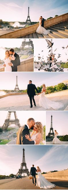 After wedding shoot in Paris - of course with Eiffel Tower and pigeons . © Oleg Trushkov - www. Paris Wedding, Fall Wedding, Our Wedding, Dream Wedding, Wedding Ideas, Wedding Photoshoot, Wedding Shoot, Wedding Dresses, After