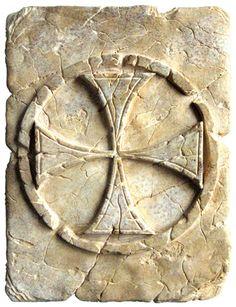# Tile with Templar Cross Pattee by Marto of Toledo Spain Knights Hospitaller, Knights Templar, Silver Knight, Temple In Jerusalem, Art Roman, Crusader Knight, Toledo Spain, Early Middle Ages, Medieval Knight
