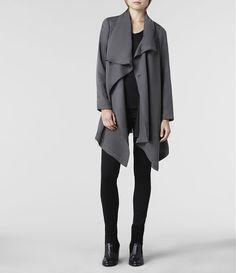 Womens Hoxton Monument Coat (Grey) | ALLSAINTS.com