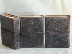 Owl Blue Leather Journal, Diary, Book of Shadows BOS Leather Sketch Book