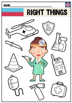 Community Helpers Worksheets: Doctor | TeachersMag.com Community Helpers Worksheets, Community Helpers Crafts, Community Activities, Space Activities, Art Activities For Kids, Preschool Social Studies, Conversation Starters For Kids, Sudoku, Doctor For Kids