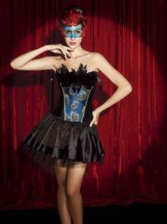 Corselet femmes Sexy corsets et bustiers avec jupe plume de paon corset avec jupe V1286 SET