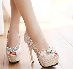 8-free shipping 2015 new vogue single shoes women lace high heels ladies fashion sexy peep toe rhinestone bowtie platformpumps alishoppbrasil