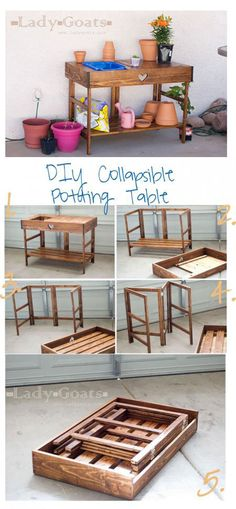 Collapsible Potting Table Plans!    make some other types of tables too.