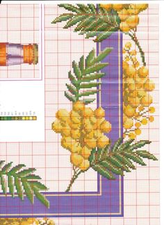 Cross Stitch Borders, Cross Stitch Flowers, Cross Stitch Patterns, Magnolia Flower, Mimosas, Bargello, Table Toppers, Yellow Flowers, Cactus Plants