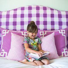 Caitlin Wilson Design Headboard and Pillow | Courtney Kate Dress