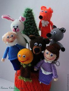 Развивающие игрушки ручной работы. Ярмарка Мастеров - ручная работа. Купить Пальчиковый театр Колобок. Handmade. Куклы и игрушки, колобок