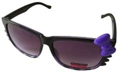 Sanrio Hello Kitty Meow Stripes Style Designer Inspired Sunglasses with Bow - Purple Stripes with Purple Bow by Hello Kitty. $9.99