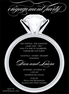 Engagement Party - There's one diamond a girl waits her life for! This flat white engagement party invitation features a black background with a large solitaire engagement ring in the center. Engagement Party Invitations, Bridal Shower Invitations, Solitaire Engagement, Engagement Photos, Engagement Parties, Beach Engagement, Engagement Ideas, Bridal Shower Gifts, Bridal Showers