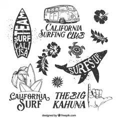 Hand drawn surf badges Free Vector