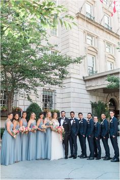 Dusty Blue and Coral Interfaith Wedding at the National Museum of Women in the Arts / Sarah Bradshaw Photography / Bridal Party Portraits at the Hay-Adams Hotel in Washington DC Blue Suit Wedding, Blue Bridal, Wedding Colors, Wedding Ideas, Steel Blue Weddings, Dusty Blue Weddings, Steel Blue Bridesmaid Dresses, Wedding Bridesmaid Dresses, Navy Blue Bridesmaids