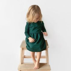Girl Dress  minimalistic dress with wooden buttons by Litt1eAcorns