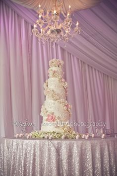 I love EVERYTHING about this. The table cloth, the soft purple, the pastels, and omg that cake. This is a freakin rapunzel wedding lol.