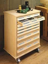 Hardware Storage Cabinet Plans - Workshop Solutions Plans, Tips and Tricks Workshop Storage, Workshop Organization, Tool Storage, Storage Cart, Workshop Ideas, Woodworking Organization, Woodworking Workshop, Woodworking Projects, Shop Organisation